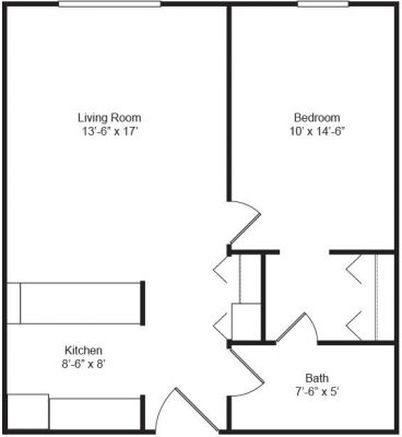 Emerson House 1BR Floor Plan