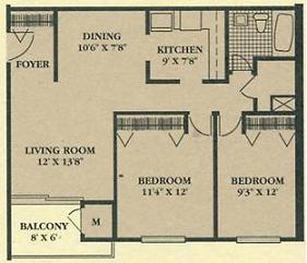 Cedar Ridge 2 Bedroom Floor Plan