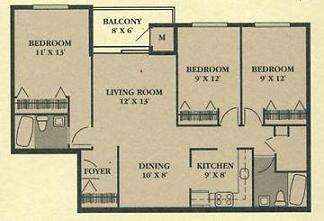 Cedar Ridge 3 Bedroom Floor Plan