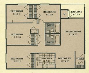 Cedar Ridge 4 Bedroom Floor Plan