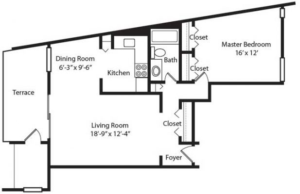 Crescent Apartments 1BR Floor Plan