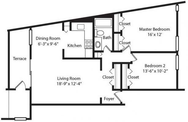 Crescent Apartments 2BR Floor Plan