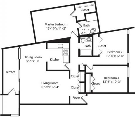 Crescent Apartments 3BR Floor Plan