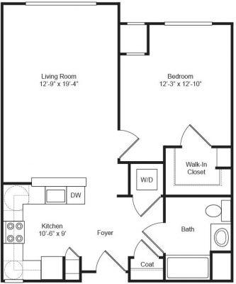 Covenant Village 1BR Floor Plan