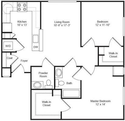 Covenant Village 2BR Half Bath Floor Plan