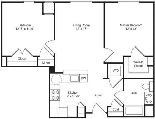 Covenant Village 2BD Floor Plan