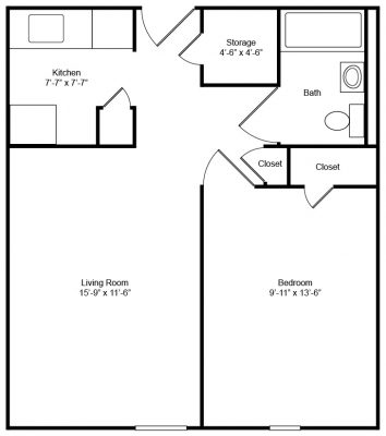Evergreen House 1 Bedroom Floor Plan