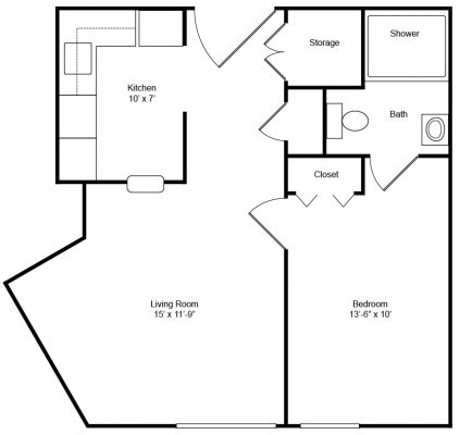 Evergreen House 1 Bedroom Barrier Free Floor Plan