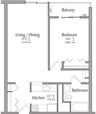 Inwood House 1BR Floor Plan