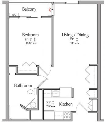 Inwood House 1BR Floor Plan With Shower