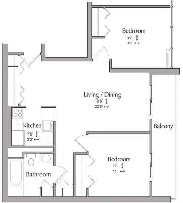 Inwood House 2BR Floor Plan