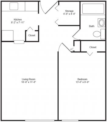 Marywood Apartments 1 Bedroom Floor Plan
