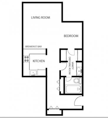 Mass Place 1BR Floor Plan