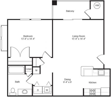 The Apartments at Northpoint 1 Bedroom Floor Plan