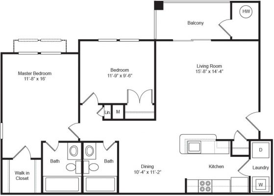 The Apartments at Northpoint 2 Bedroom Floor Plan