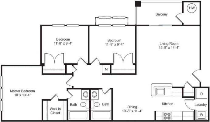 The Apartments at Northpoint 3 Bedroom Floor Plan