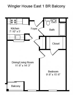 Wingler House 1 BR Floorplan