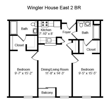 Wingler House 2 BR Floorplan